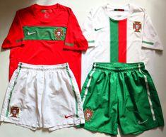 Portugal 2010/2012 home/away football kits by Nike #portugal #portugalfootball #footballshirt #footballshorts #shorts #soccerjersey #nike #nikefootball #camiseta #jersey #euro2020 Football Kits, Nike Football, National Football Teams, Home And Away, Cami, Shorts, Shopping, Soccer Kits