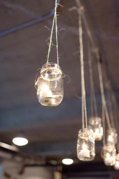 Hanging lights in a jar