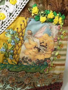 Crazy Quilted Silk Pouch Yellow Brown Lace Vintage Trims Handdyed Silk Ribbon Embroidery by TerrisThreadArt on Etsy