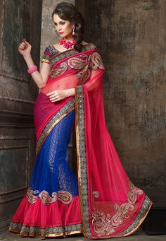 #Pink and #Blue #Saree