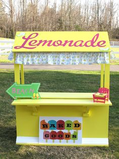 I made this cute kid's lemonade stand from scratch using a few tools I had in the garage, some colorful paint, my handy Janome and a. Fun Camp Games, Kids Lemonade Stands, How To Make Lemonade, Lemon Drink, Daisy Girl Scouts, Kids Board, Bake Sale, Pretend Play, Summer Fun