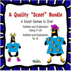 These fun exciting penguin math games keep your students up and moving . There are 4 fun games in one.  Save money by purchasing this bundle.  Great review for addition and subtraction facts to 20 $