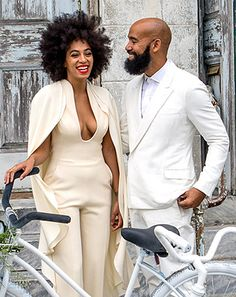 Love that #Solange opted for a #jumpsuit/cape combo for her wedding. She looks gorgeous, #glowing, and oh so happy!