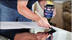 Using this on our dining room table.  Glidden Trim  Door Paint. Its a new gel-like paint that is self leveling, so it erases most of your brush strokes/drips. It also dries to a nice, durable, shiny finish