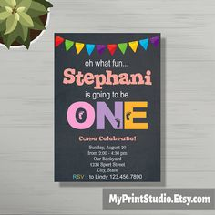 Birthday Invitation for Girl Chalkboard Birthday Invitation 1st Birthday Invitations, Baby Shower Invitations, Barney Birthday, Birthday Chalkboard, Text Me, Baby Shower Printables, Stuff To Do, Rsvp
