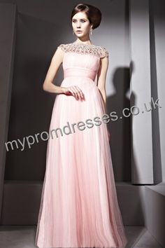 Floor Length Sleeveless Pink Tulle A-line Evening Dress  http://www.mypromdresses.co.uk