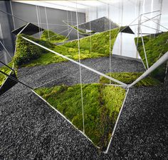 Integration of greenery Hanging Moss Garden from the moistscape Installation, Henry Urbach Gallery, New York NY  images via FreeCell