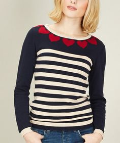 Take a look at this Navy & Red Heart To Heart Sweater by Sugarhill Boutique on #zulily today!