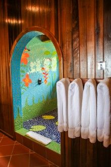 Colorful tiles in the rainforest themed Rainshower Ladera Resort St Lucia, Glamping, Tiles, Colorful, Room, Room Tiles, Bedroom, Go Glamping, Tile