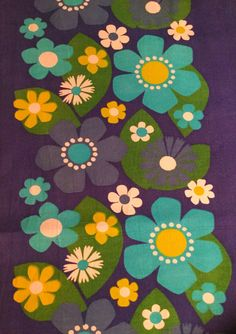 60s vintage fabric with stylized retro flowers. Floral by Inspiria