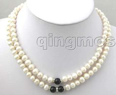 """SALE  ELEGANT 6-7MM NATURAL WHITE FreshWater PEARL 17-19"""" 2 STRANDS NECKLACE-nec1429 whole sale and retail"""