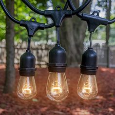 Outdoor  Indoor Edison Style String Lights  Commercial Grade Heavy Duty Weatherproof Incandescent Lighting  48ft Long String Light with 15 Sockets and 15 Incandescent Light Bulbs >>> Click image for more details.