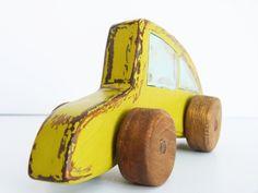 vintage looking wooden toy Volkswagen Beetle by Wheelsandpaintings, $26.00