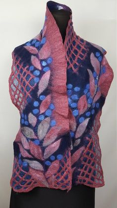 Rose shawl with blue berries and mesh, unique long nuno felt silk wool shawl, gift idea, soft warm scarf Nuno Felt Scarf, Felted Scarf, Weaving Designs, Wool Art, Silk Wool, Nuno Felting, Shawl, Trending Outfits, Berries