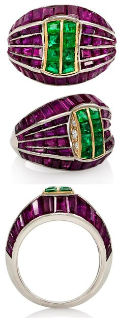 French Retro Ruby Emerald Ring, circa 1945. A Retro ruby and emerald ring, set with rows of calibre rubies centering on two rows of calibre emeralds, in platinum. France. Via 1stdibs.