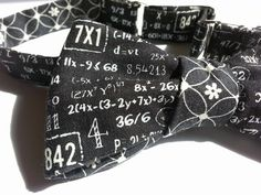 Perfect way to show off your love of numbers!    Handmade Reversible Mens Bow Tie Self-tie bow tie in a fun black & white math equation print,
