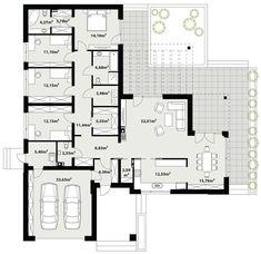 DOM.PL™ - Projekt domu TP Artus 2 CE - DOM TP2-17 - gotowy koszt budowy Bungalow House Design, Small House Design, One Storey House, Concept Architecture, Home Design Plans, House Layouts, Big Houses, House Floor Plans, My Dream Home