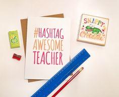 Hashtag Awesome Teacher Greeting Card