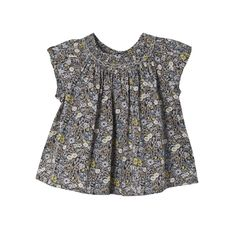 Blouse Glaïeul Neutral grey flower print Bonpoint online shop
