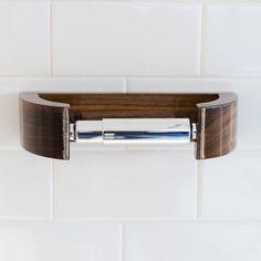 Walnut TP Holder - Modern Curve Toilet Paper Holder - Minimalist Bath Decor by WilburDavis on Etsy https://www.etsy.com/listing/227942009/walnut-tp-holder-modern-curve-toilet