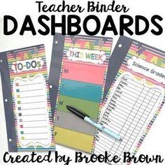 Write and wipe, EDITABLE DASHBOARDS for your Teacher Binder!