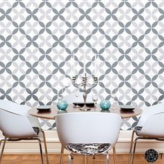 A fun modern dining room that was designed around our premier prints circle tiles. by tilecircle