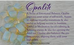 #Opalite #Wicca #Wiccan #Witchcraft #Crystals #Pagan Chakra Crystals, Crystals Minerals, Crystals And Gemstones, Stones And Crystals, Diy Crystals, Crystal Guide, Crystal Magic, Meditation Crystals, Crystal Healing Stones