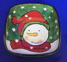 Oneida Snowman Smiles Cereal Bowl Square Candy Snack Dish Red & Green Christmas #Oneida