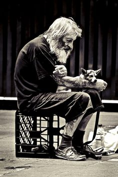 . Homeless but loyal. While other get tired of taking care of pets. Have them put down. Sometimes I think the difference between many homeless & us is they are gentle people. Unable to cope in harsh world