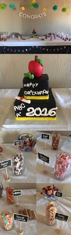 Teacher Graduation Party. Decor/dessert table/cake.   Dessert table included a teacher themed cake, candies with puns written as names, and chamoy apples (apples covered in Mexican candy).   A banner with pictures of the graduate from pre-k to Graduation!