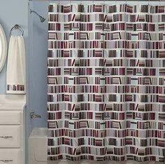 """* Book stack pattern provides sophisticated style.  * Perforations at the top slide easily onto shower curtain hooks.  * Cotton construction promises long-lasting use.  * Shower curtain liner is recommended.  * Details:  o 72"""" x 72""""  o Cotton  o Machine wash   Kohl's"""