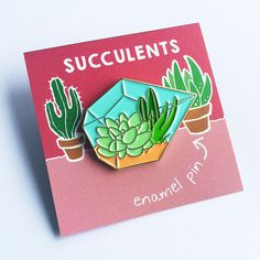Beautiful Terrarium pin for all you succulent and cacti lovers! From Oh Plesiosaur32mm, Soft Enamel, Double Rubber Clutch