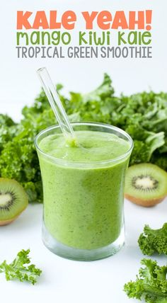 Shake up your smoothie routine with this gorgeous green smoothie. Boasting 2 cups of kale, this fruit and veggie smoothie is nutrient-packed and full of tasty tropical flavor! Mango Kale Smoothie, Kale Smoothie Recipes, Smoothie Vert, Veggie Smoothies, Breakfast Smoothies, Smoothie Drinks, Smoothie Detox, Detox Drinks, Breakfast Healthy