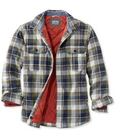 Men's PrimaLoft-Lined Shirt-Jac, Slightly Fitted Plaid Mens Parka Jacket, Shirt Jacket, Shirt Outfit, Lined Flannel Shirt, Mens Flannel Shirt, Lumberjack Style, Picnic Outfits, Men's Shirts And Tops, Outdoor Apparel