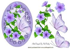 PRETTY LILAC FLOWERS WITH BUTTERFLIES IN FLORAL FRAME on Craftsuprint - Add To Basket!