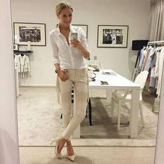 Trying to ignore the rain outside - love wearing light colours with cold weather. My #OOTD @JOSHVHQ! Wearing my favorite buttondown shirt (Charla) and eco-leather fringe pants (Xandra), all #JOSHV via JOSHV.com -- Check the storelocator for JOSH V Partner stores in your area! (Heels are from Saint Laurent)