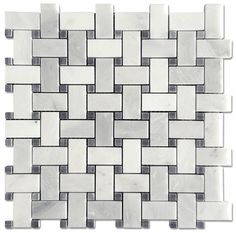 """$8.95/sf Carrara Pietra 1x2"""" Basketweave Honed Mosaic with a Bardiglio Gray Dot. Adds subtlety to the look instead of a more common black dot. White Master Bathroom, Guest Bathrooms, Downstairs Bathroom, Bathroom Ideas, Basket Weave Tile, Basket Weaving, Bath Tiles, Mosaic Tiles, Style Tile"""