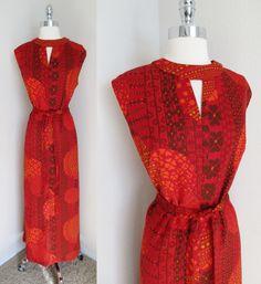 70s  Red & Black Hawaiian Print Home Tailored Hostess Dress, Flower Print Maxi L #Handmade