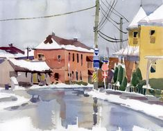 Thirty minutes of rain and snow by Shari Blaukopf: field sketching technique from painter Edward Norton Ward. Instead of using sketchbooks, Ward tapes down a number of quarter sheets of watercolour paper.