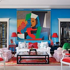 Living Room : Miles Redd Decorates an Eclectic Houston Mansion : Architectural Digest large scale art