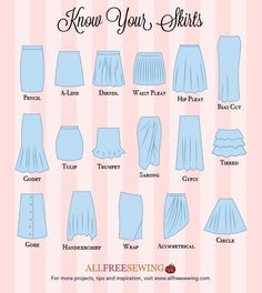 You& love our Know Your Skirts Guide! This printable sewing infographic gives you a diagram of some of the most popular styles of skirts.Don't fear bra-shopping ever again with our brand new Know Your Bras Guide! This printable sewing PDF is great if you Fashion Design Drawings, Fashion Sketches, Look Fashion, Diy Fashion, Fashion Hacks, Fashion Ideas, Fashion Guide, Young Fashion, Petite Fashion