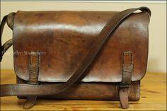 VTG Rustic France Railway Brown Saddle Leather Messenger Briefcase