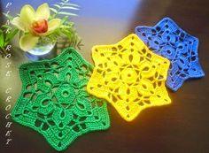 Posavasos en forma de estrella | Crochet y Dos agujas
