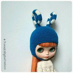 Blythe Hat  FunkyFun Blue  OOAK Handmade by PukadoBlytheFashion