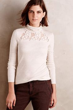 Lace-Topped Turtleneck - anthropologie.com