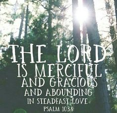 Psalm 103:8 The Lord is merciful and gracious and abounding in steadfast love.