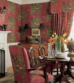 Thibaut Repertoire - Sussex. marsala wall covering and fabric