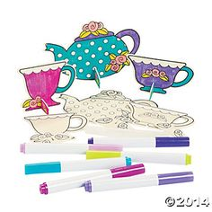 For the kiddos  Color Your Own Stand-Up Teapots & Cups, Coloring Crafts, Crafts for Kids, Craft & Hobby Supplies - Oriental Trading