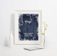 Virgo constellation art, Zodiac Virgo print, Astrology gift, Zodiac art print, Watercolor wall art