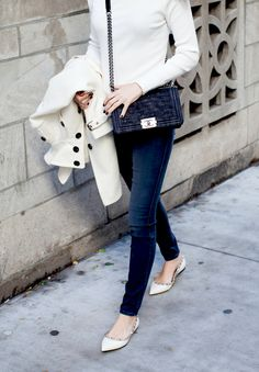 grey jeans and rockstud flats